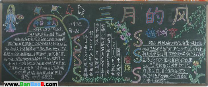 三月的风植树节黑板报