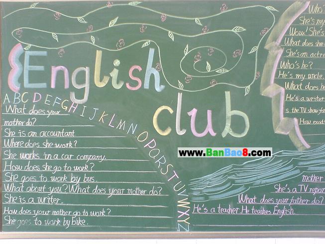 小学生英语黑板报图片、资料:英语模仿原则-小学生英语黑板报图片