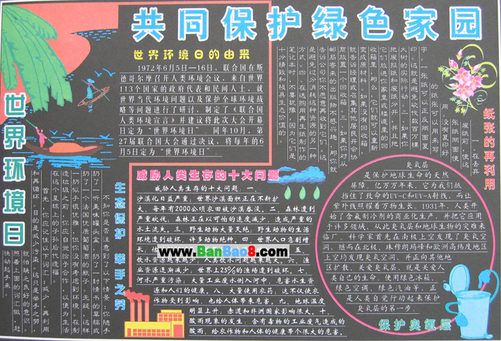 保护环境黑板报版面设计图