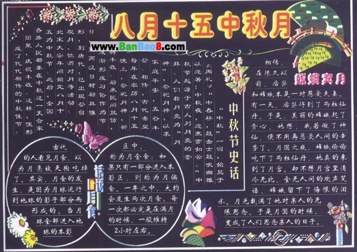 小学生中秋节黑板报设计图