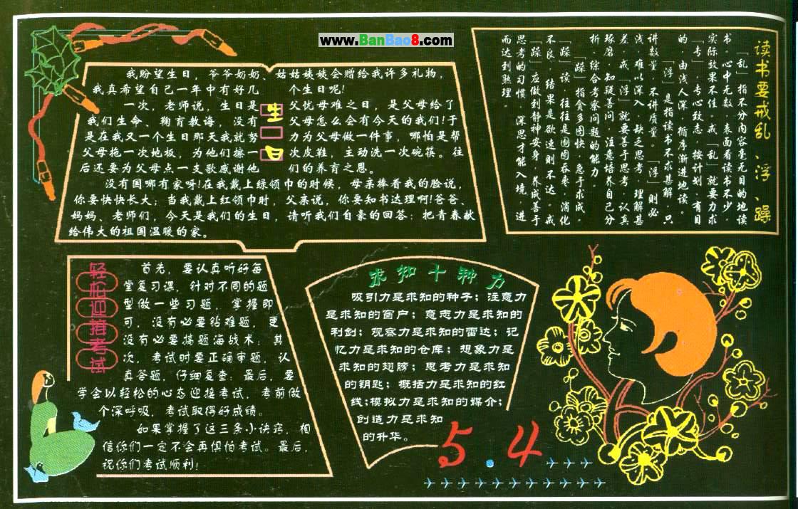 小学生读书黑板报设计图