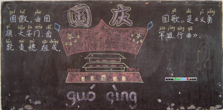 高中国庆节黑板报设计图