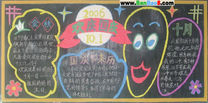 欢庆国庆黑板报图片