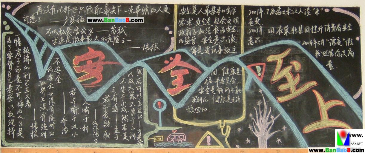 初中安全黑板报版面设计图
